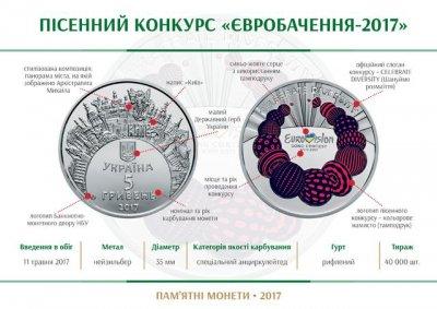 Нацбанк Украины выпустит памятную монету, посвященную «Евровидению»